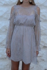 She + Sky Grey Lace Dress - Front cropped