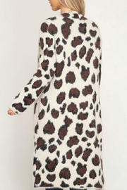 she+sky Ivory Leopard Cardigan - Front full body
