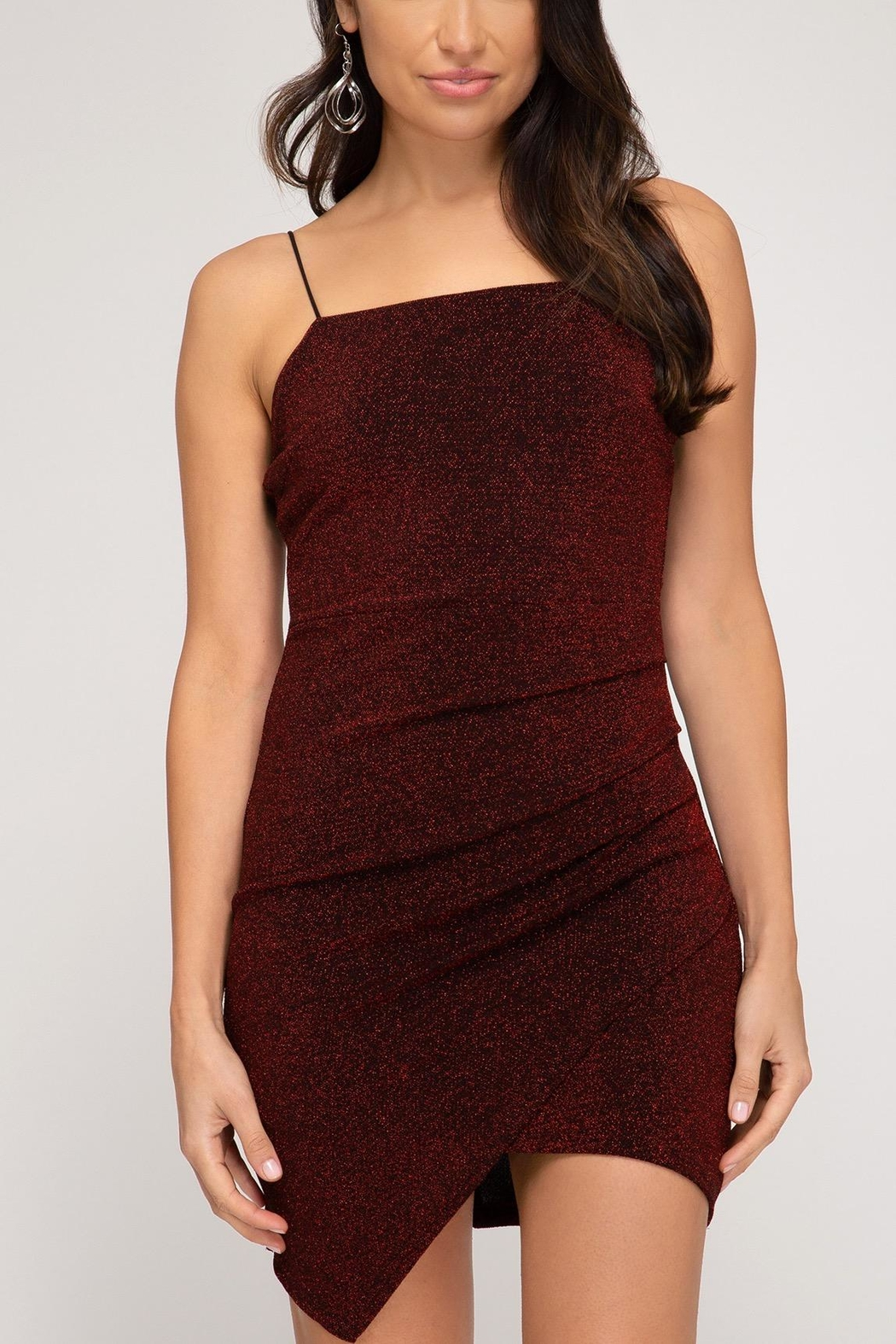 she+sky Lurex Red Dress - Side Cropped Image