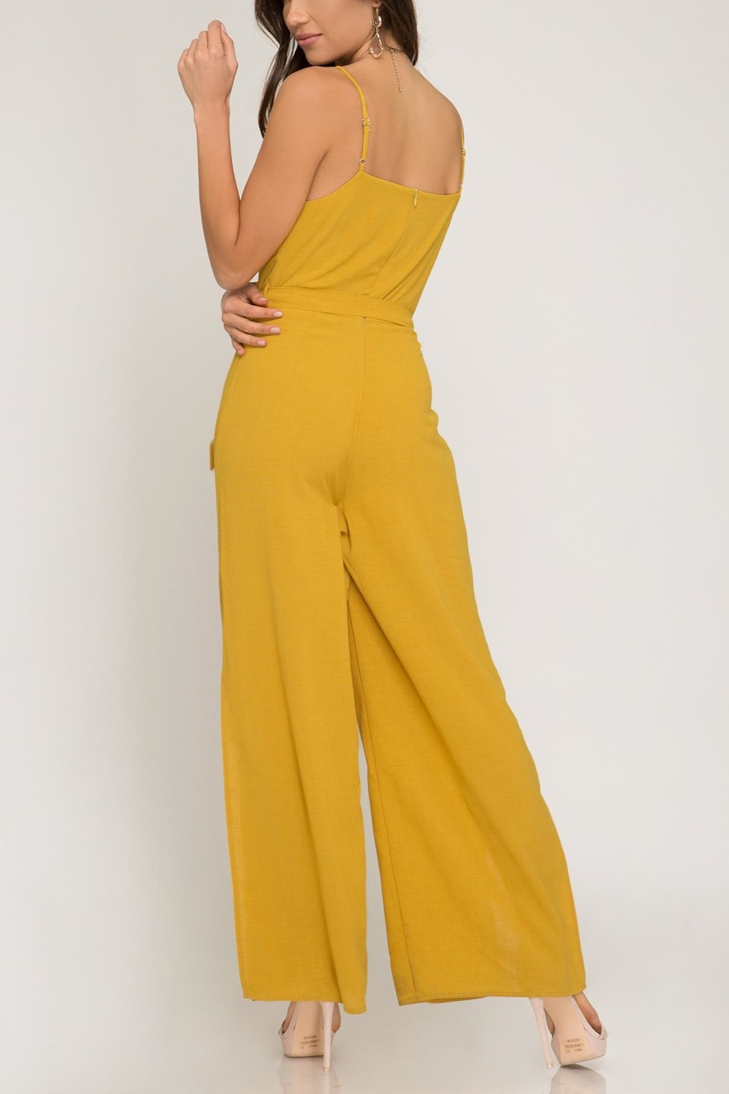 she+sky Mustard Jumpsuit - Front Full Image
