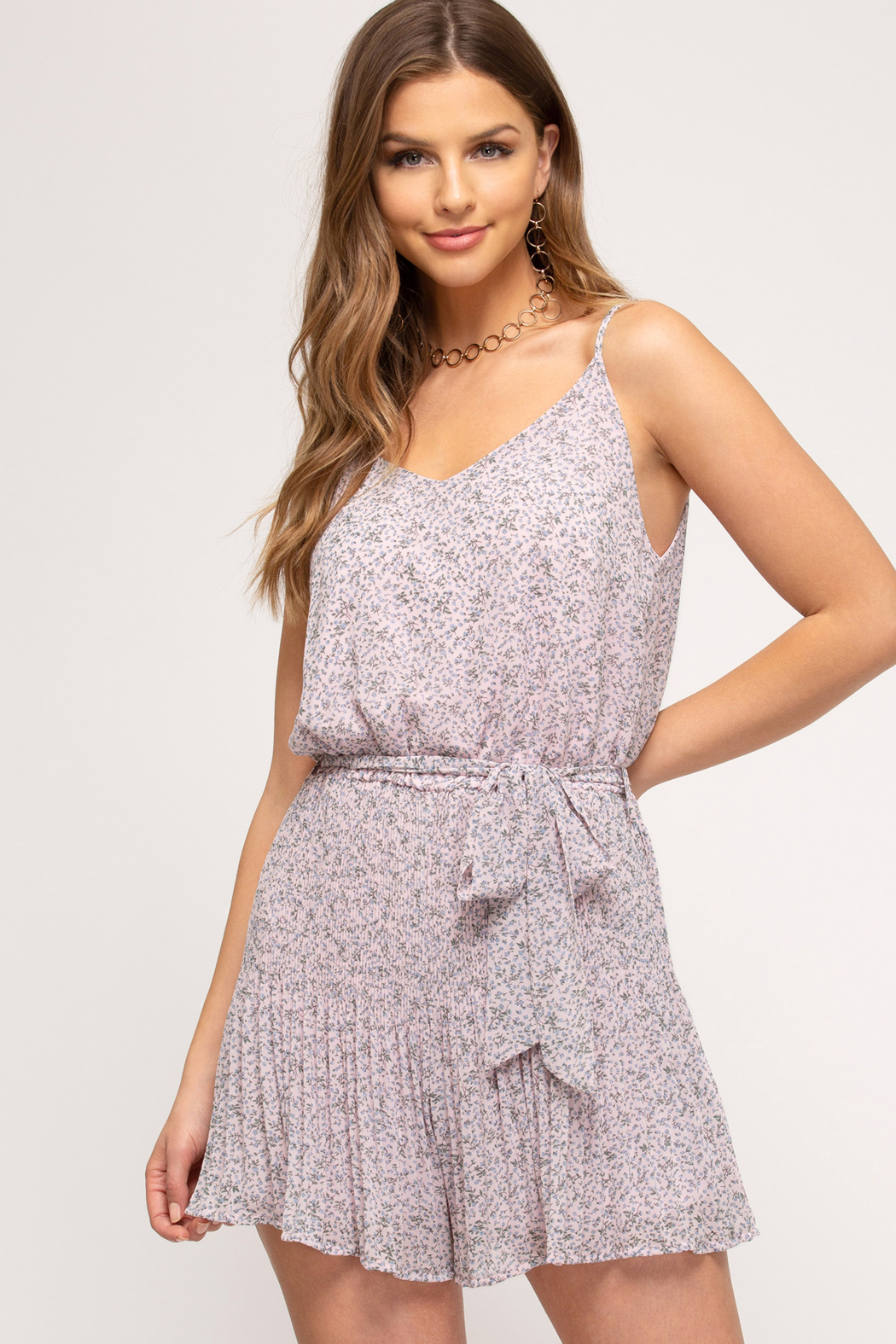 She + Sky Romper - Front Cropped Image
