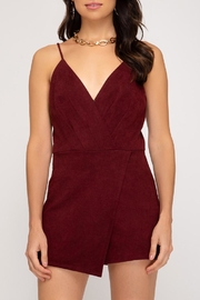 she+sky Suede V-Neck Romper - Product Mini Image