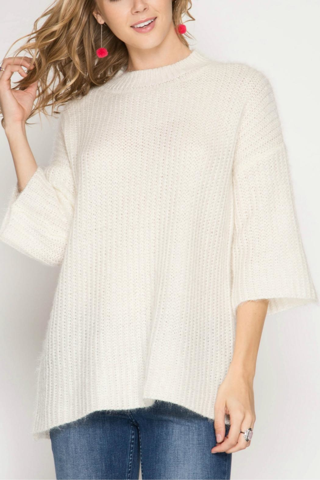 She + Sky 3/4 Sleeve Sweater - Front Cropped Image