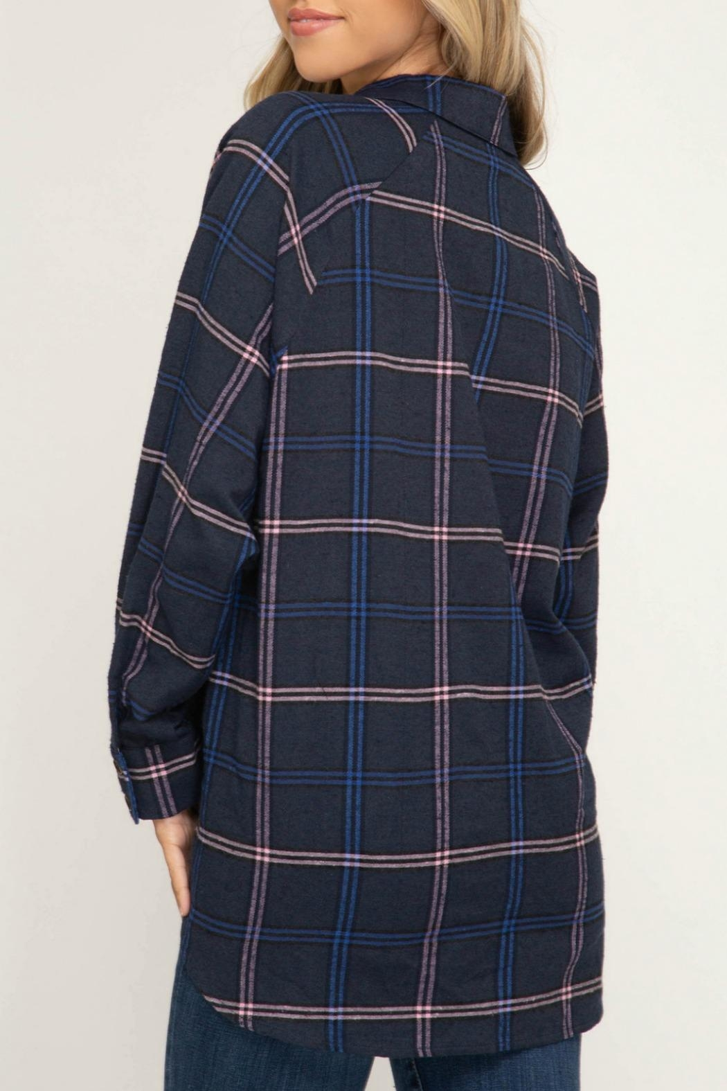 She + Sky Ally Plaid Top - Front Full Image