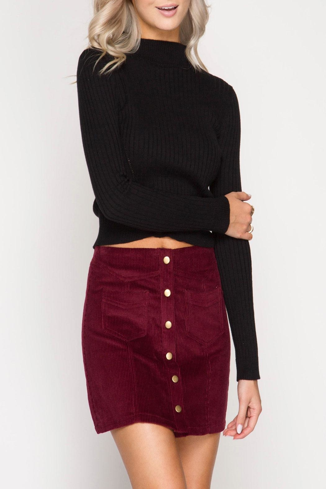 She + Sky Analia Wine Skirt - Front Cropped Image