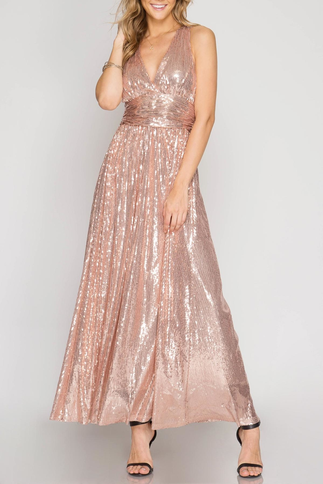She + Sky Angelina Sequin Dress - Front Cropped Image