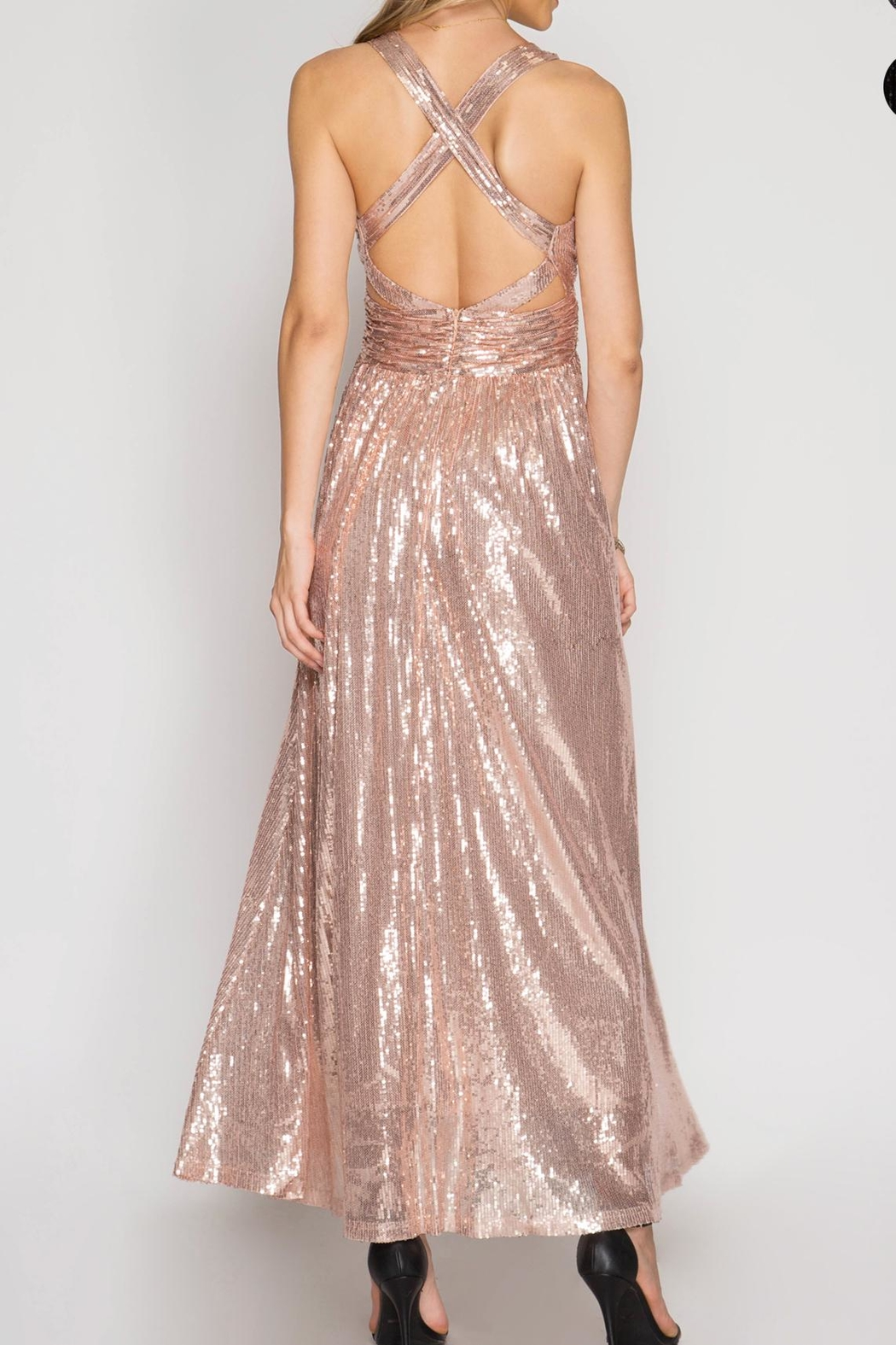 She + Sky Angelina Sequin Dress - Back Cropped Image