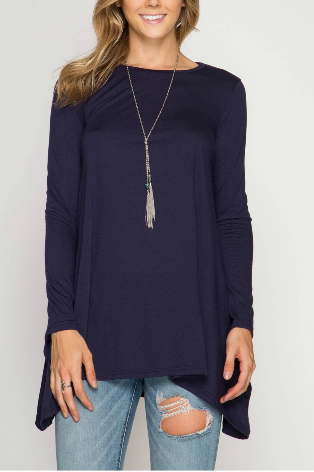 She + Sky Asymmetrical Shirt - Front Cropped Image
