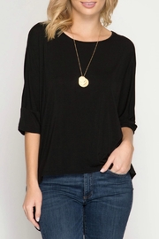 She + Sky Back Cutout Top - Front full body