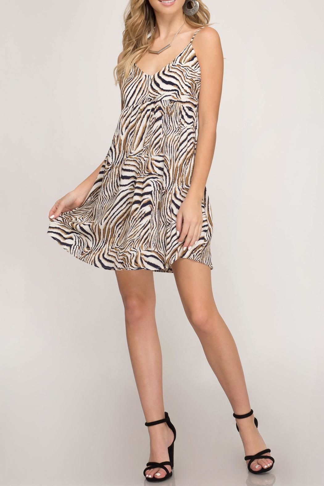 She + Sky Back Tie Dress - Front Cropped Image