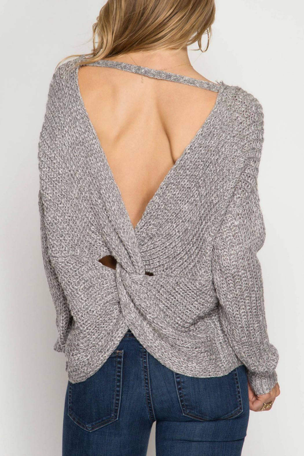 She + Sky Back Twist Sweater - Front Full Image