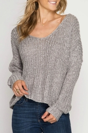 She + Sky Back Twist Sweater - Product Mini Image