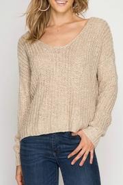 She + Sky Back Twist Sweater - Front cropped