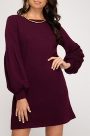 She + Sky Balloon Sleeve Dress - Front full body