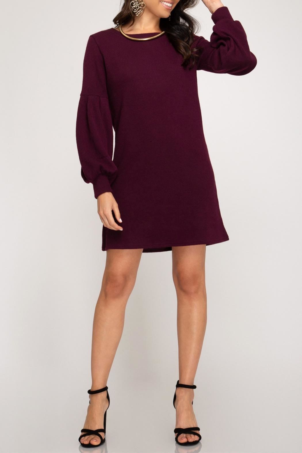 She + Sky Balloon Sleeve Dress - Front Cropped Image