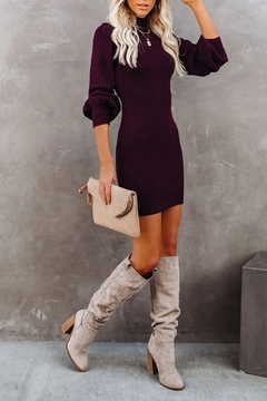 Shoptiques Product: Balloon-Sleeve Sweater Dress