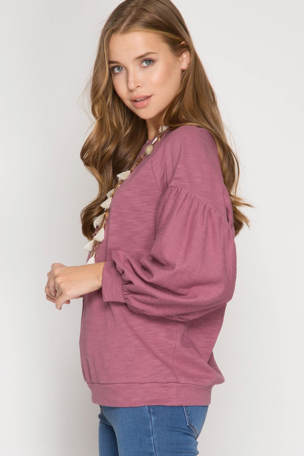 She + Sky Balloon Sleeve Top - Side Cropped Image