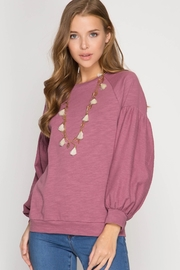 She + Sky Balloon Sleeve Top - Front cropped