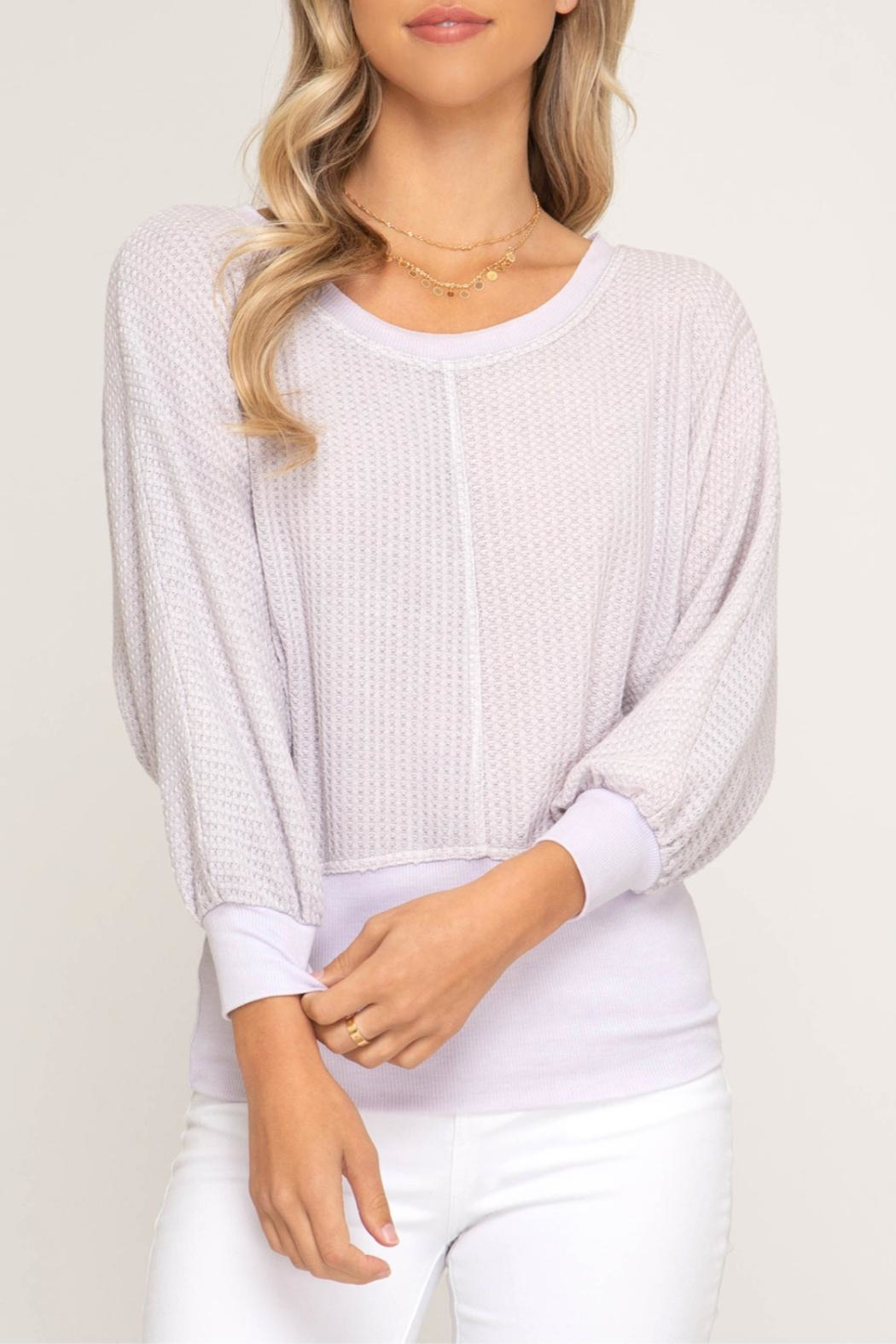 She + Sky Banded Waffle Knit - Front Cropped Image