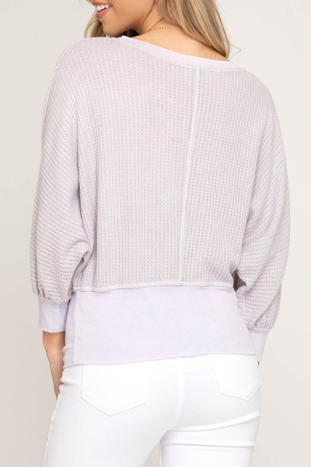 She + Sky Banded Waffle Knit - Front Full Image