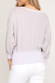 She + Sky Banded Waffle Knit - Front full body