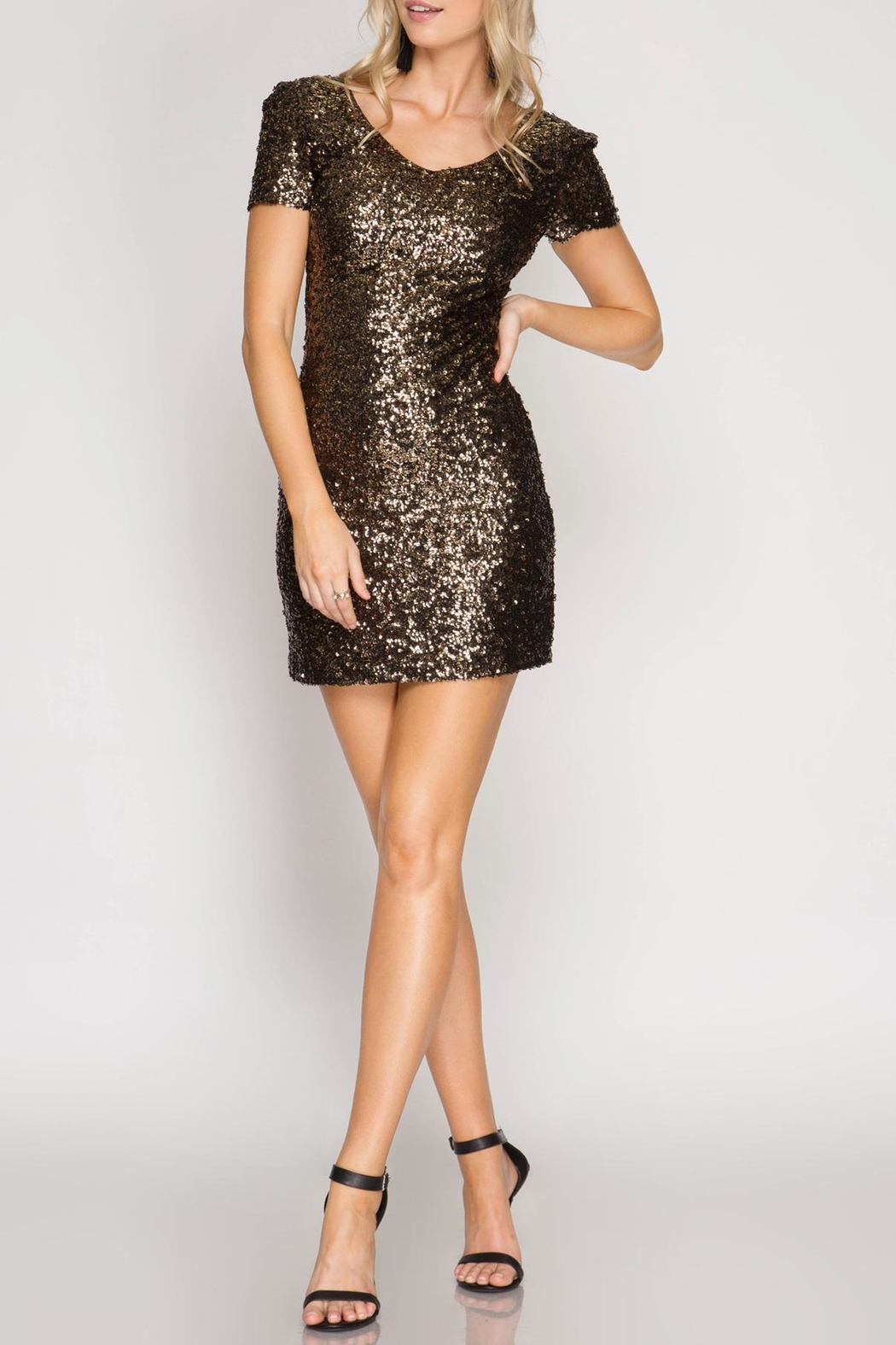 She + Sky Barbie Sequin Dress - Front Cropped Image