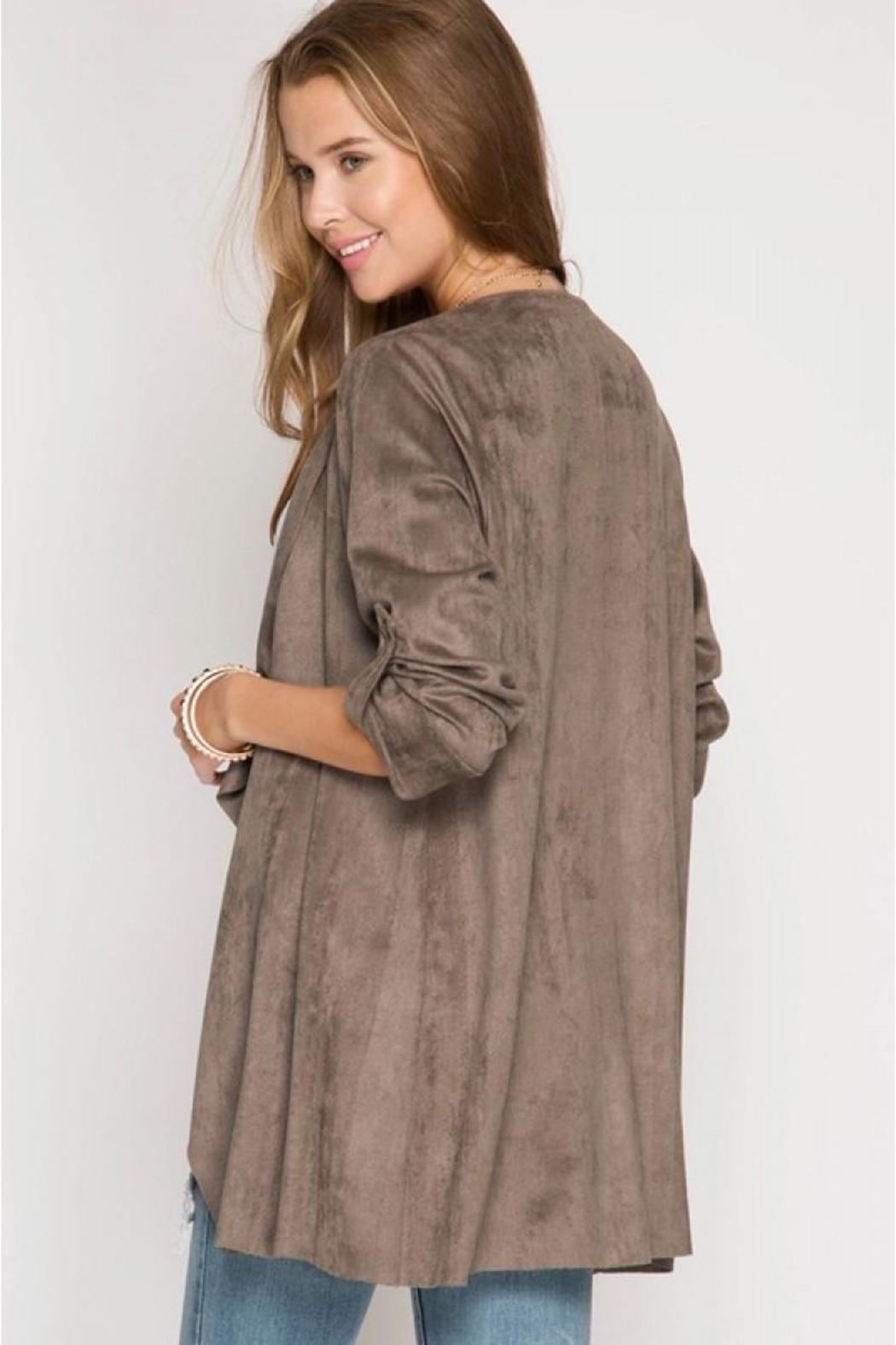She + Sky Batwing Suede Jacket - Front Full Image