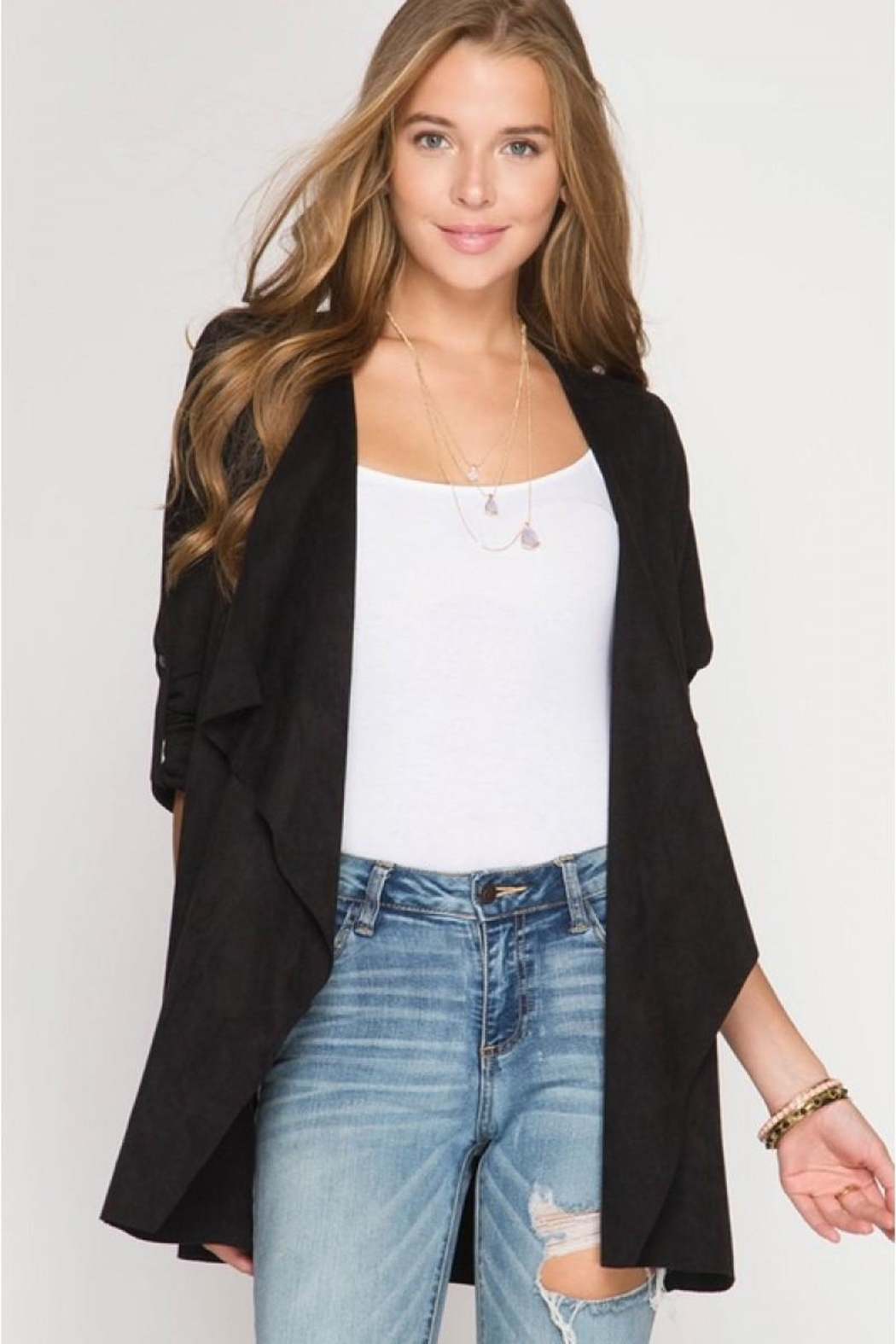 She + Sky Batwing Suede Jacket - Front Cropped Image