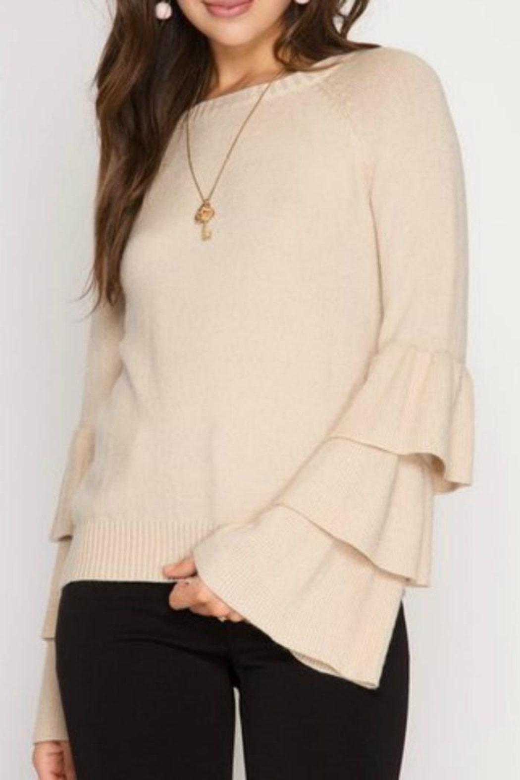 She + Sky Bell Ruffled Sweater - Front Cropped Image