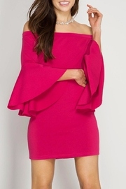 She + Sky Bell Sleeve Dress - Front cropped