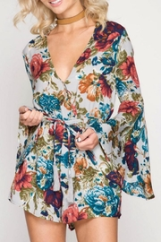 She + Sky Bell Sleeve Floral Romper - Product Mini Image