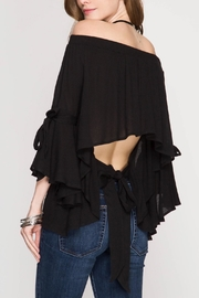 She + Sky Off-the-Shoulder Top - Front full body