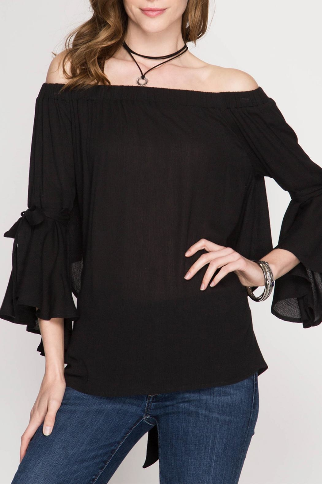 She + Sky Off-the-Shoulder Top - Front Cropped Image