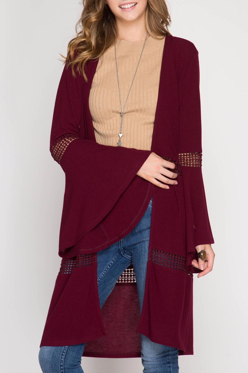 She + Sky Bell Sleeve Open Cardigan - Front Cropped Image