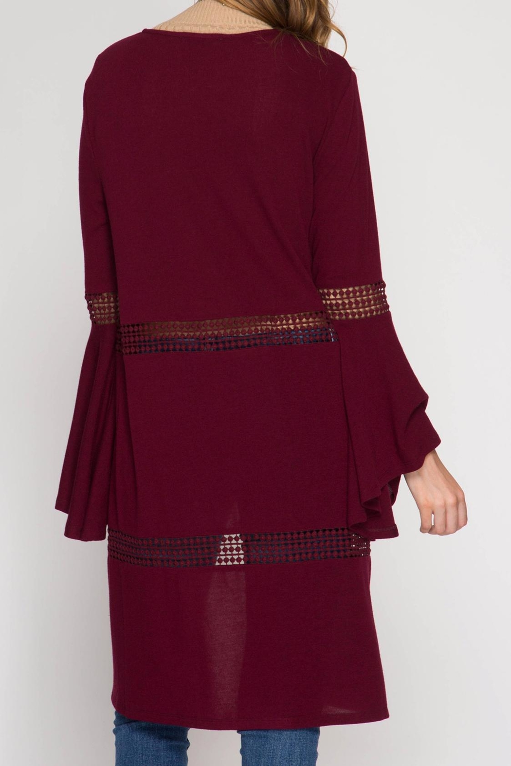 She + Sky Bell Sleeve Open Cardigan - Back Cropped Image