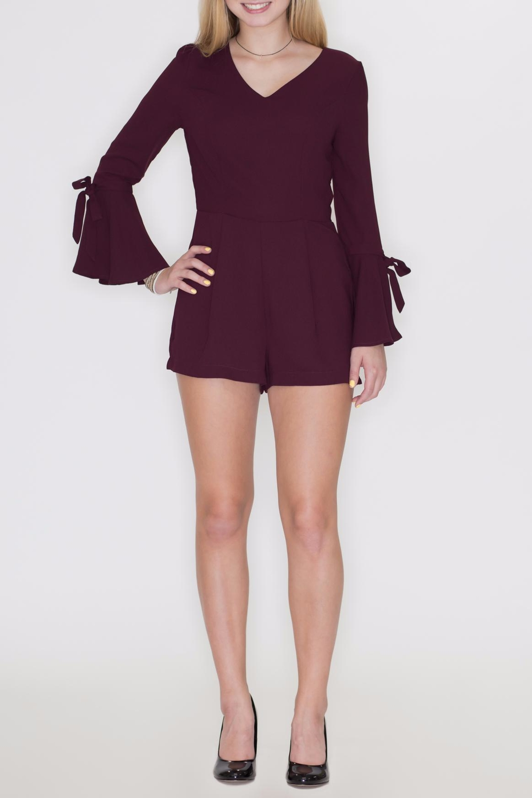 She + Sky Bell Sleeve Romper - Front Cropped Image