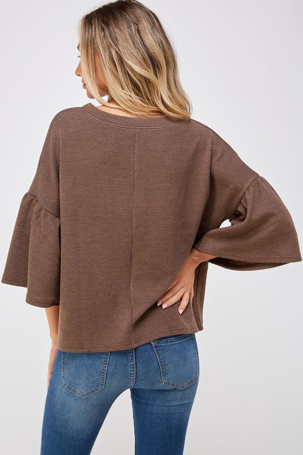 She + Sky Bell Sleeve Sweater - Back Cropped Image
