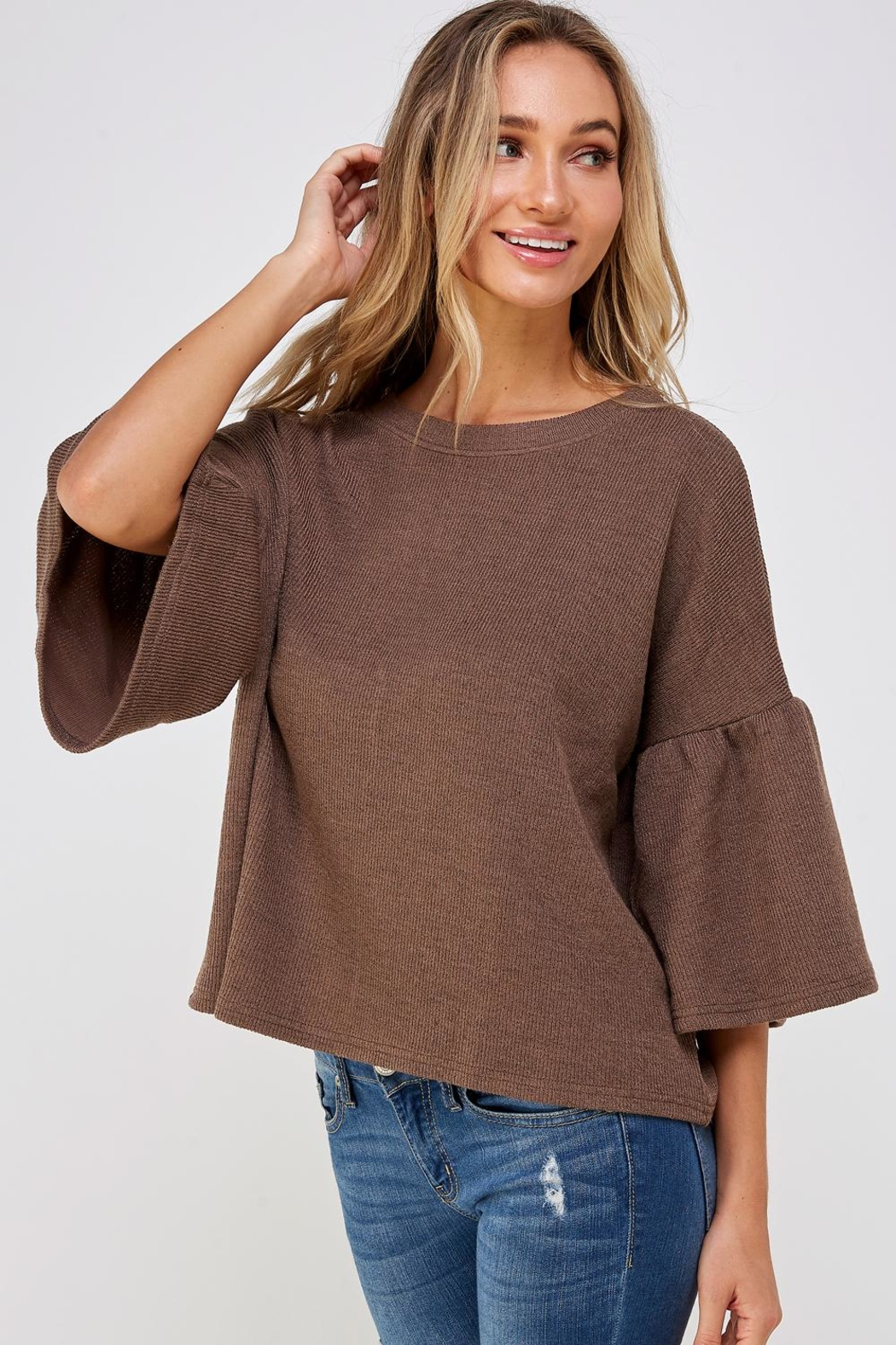 She + Sky Bell Sleeve Sweater - Side Cropped Image