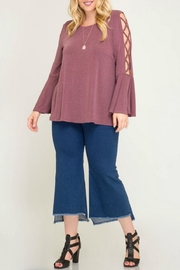 She + Sky Bell-Sleeve Swing Top - Front cropped