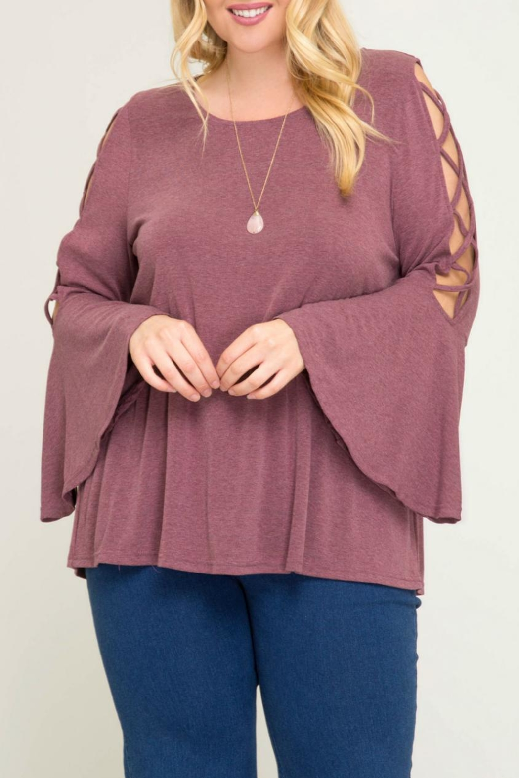 She + Sky Bell-Sleeve Swing Top - Back Cropped Image