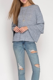 She + Sky Bell Sleeve Top - Front cropped