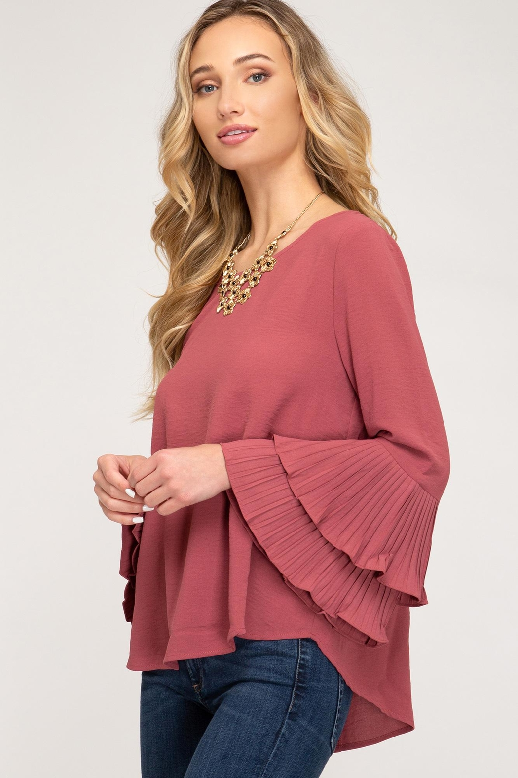 She + Sky Bell Sleeve Top - Front Full Image