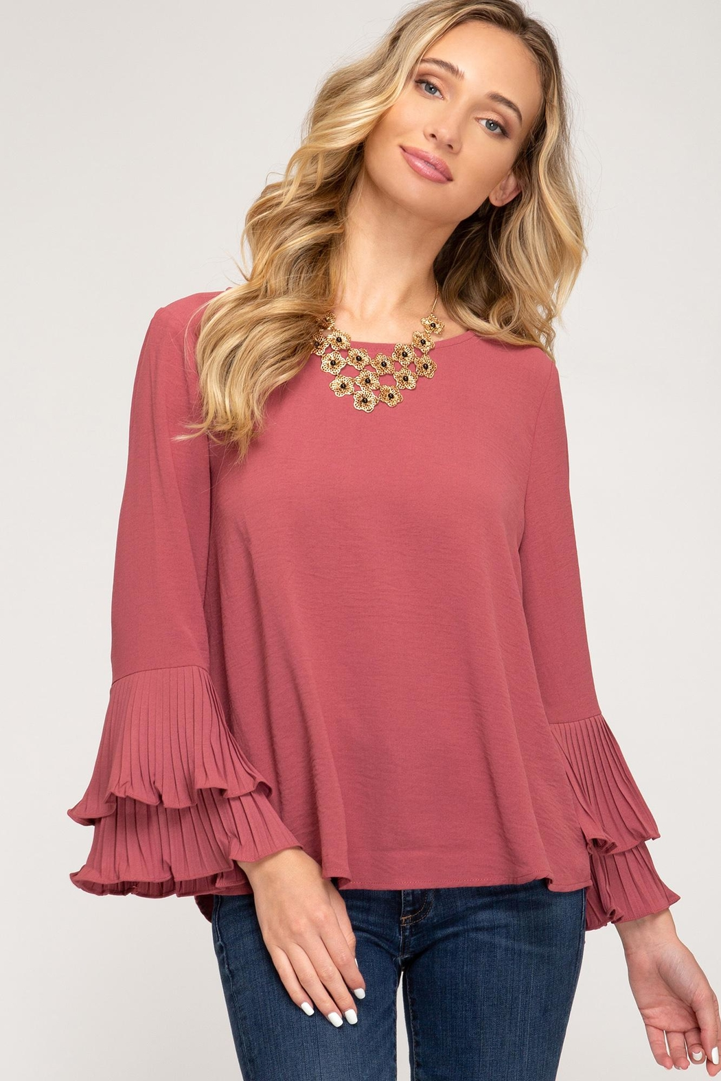She + Sky Bell Sleeve Top - Main Image
