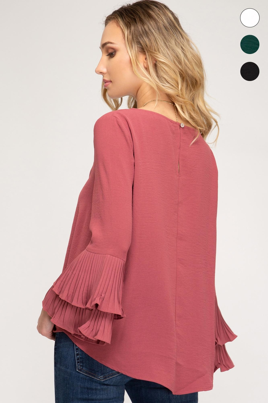 She + Sky Bell Sleeve Top - Back Cropped Image