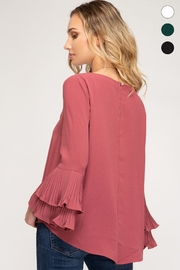 She + Sky Bell Sleeve Top - Back cropped