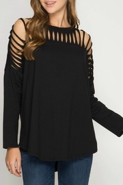 She + Sky Black Cut-Out Top - Product Mini Image