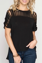 She + Sky Black Cutout Top - Front cropped