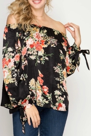 She + Sky Black Floral Top - Front full body