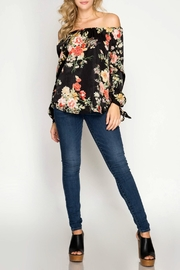 She + Sky Black Floral Top - Product Mini Image