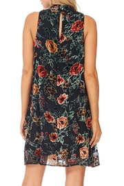 She + Sky Black Floral Velvet Dress - Back cropped